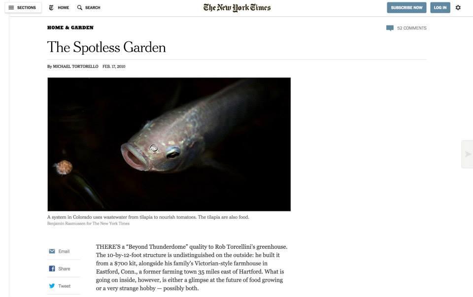 アメリカの大手媒体「ニューヨークタイムズ」によるアクアポニックスの記事